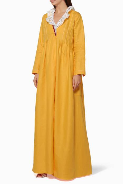 Yellow Ruffled Long Sleeve Dress