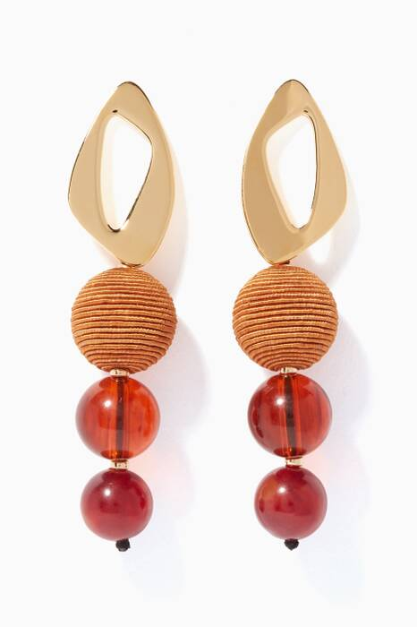Gold Amber Cosmic Earrings