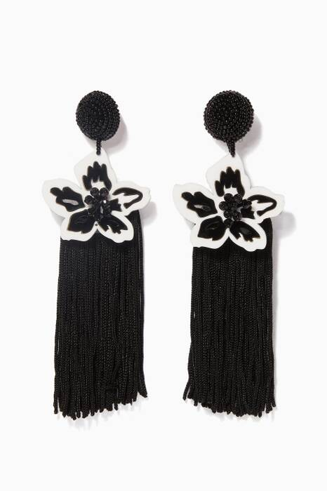 Black & White Luau Fringe Earrings