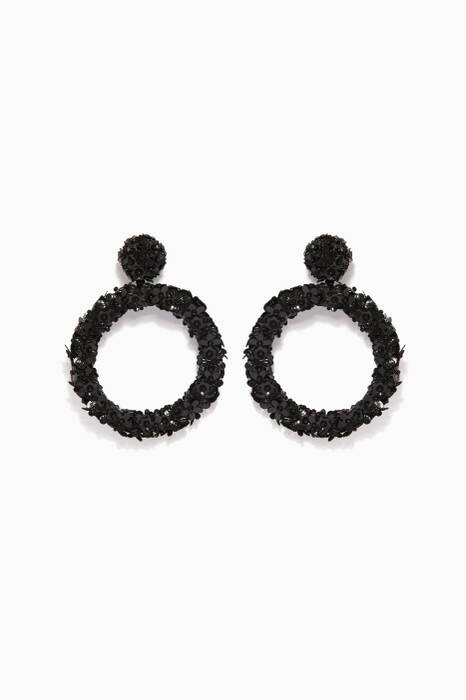 Black Fleur Eclipse Earrings