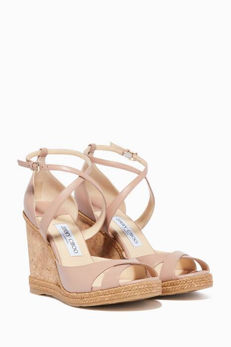 Ballet-Pink Alanah 105 Leather Wedges