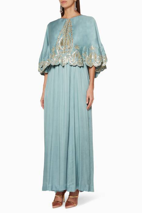 Blue-Grey Embroidered Cape Kaftan