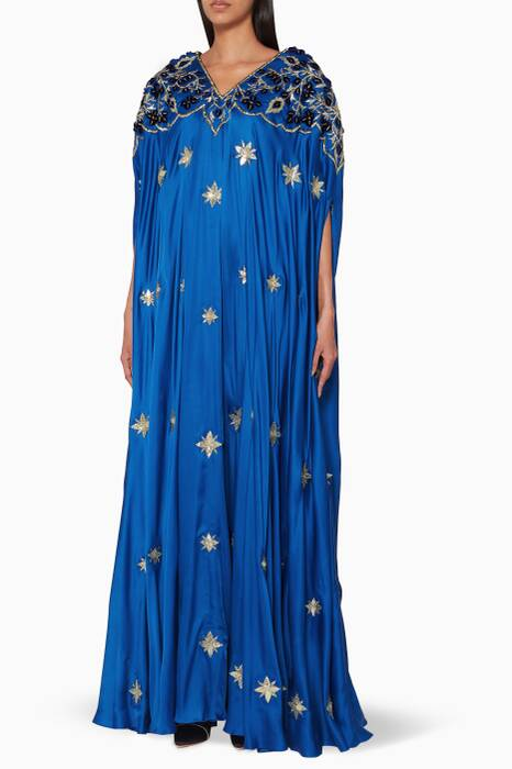Royal-Blue Cape Embroidered Kaftan
