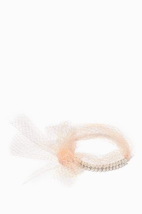 Peach Monarch Pearl & Netted-Bow Choker Necklace