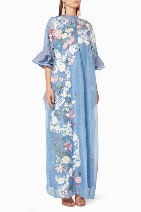 Powder-Blue Maeve Embroidered Kaftan