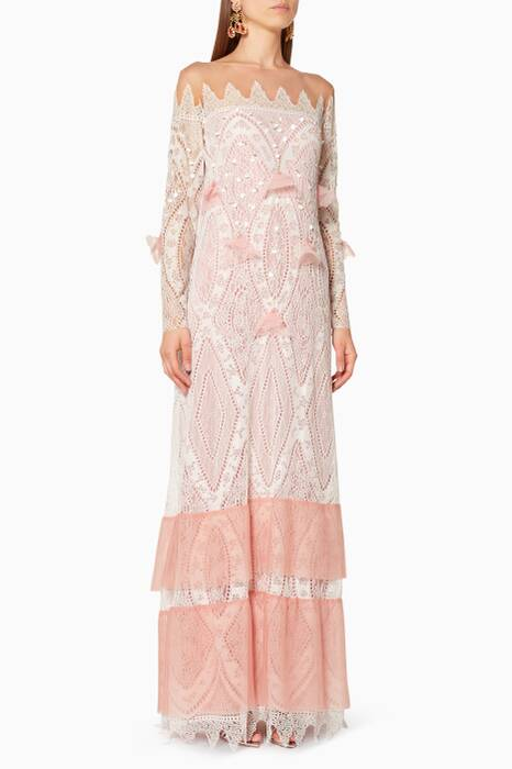 Ivory & Pink Niall Lace Embellished Kaftan