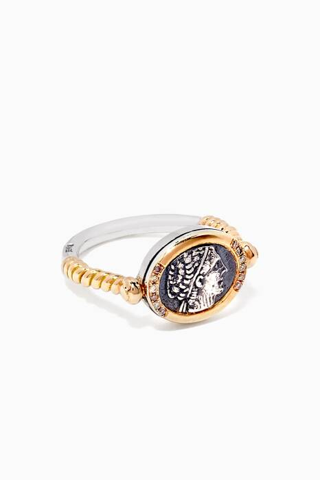 Silver & Gold Coiled Coin Ring