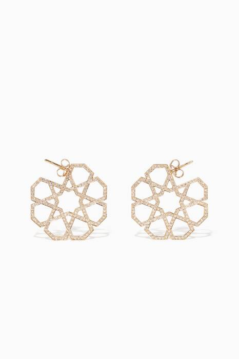 Yellow-Gold & Diamond Geometric Earrings