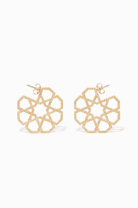 Yellow-Gold & Sapphire Geometric Earrings