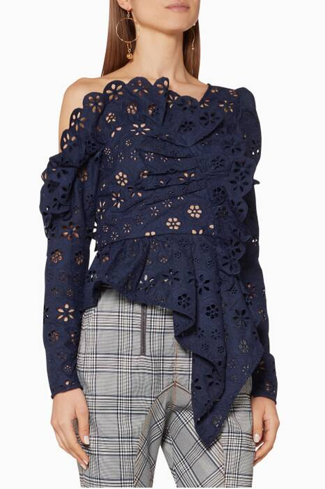 Navy Asymmetric Floral Broderie Frill Top