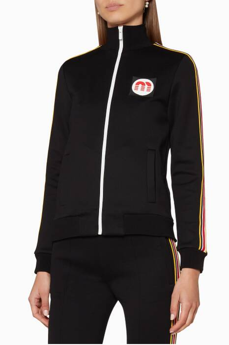 Black Side-Stripe Jersey Jacket