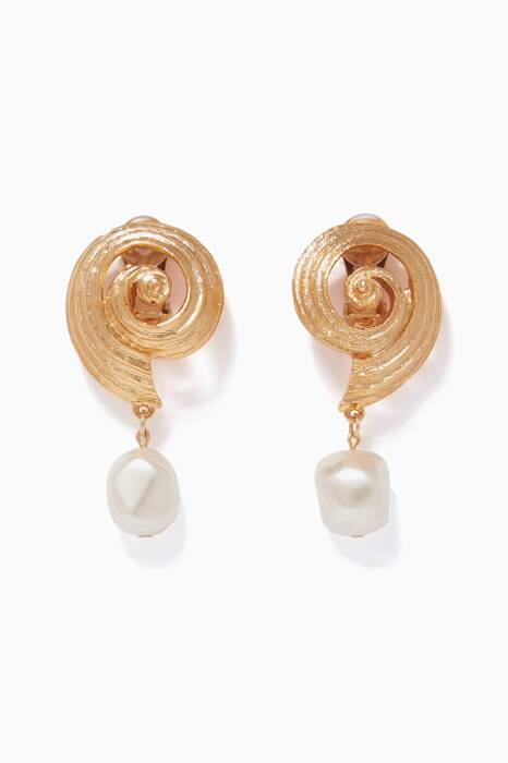 Gold Shell Pearl Earrings