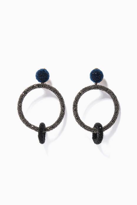 Black Two-Tone Double Hoop Earrings