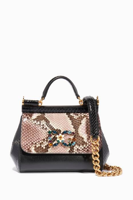 Black Mini Sicily Snakeskin Logo Shoulder Bag