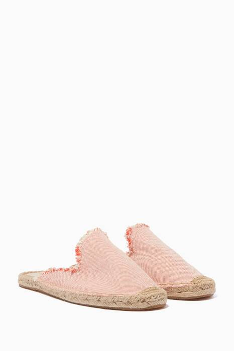 Light-Pink Frayed Espadrille Mules