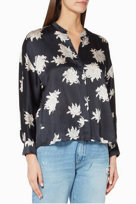 Navy Long-Sleeve Chrysanthemum Blouse