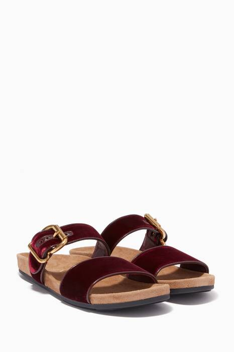 Burgundy Velvet Double-Strap Slides
