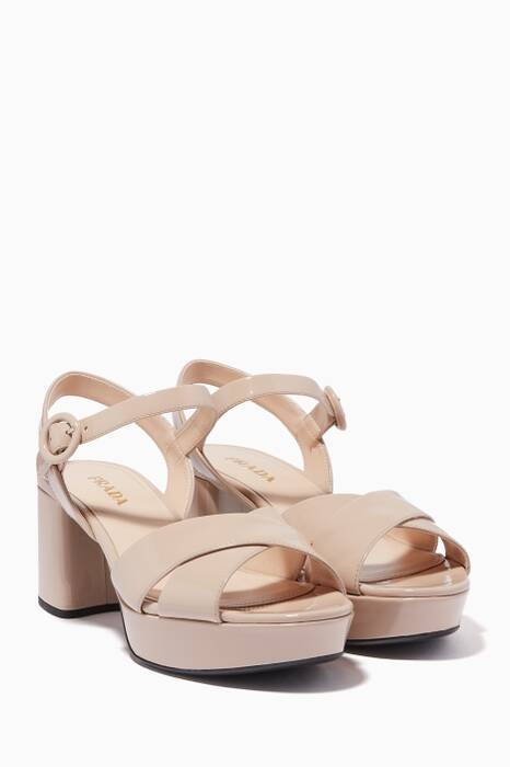 Powder-Pink Patent Criss-Cross Sandals