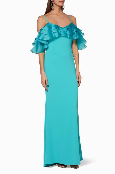 Turquoise Sleeveless Ruffle Gown