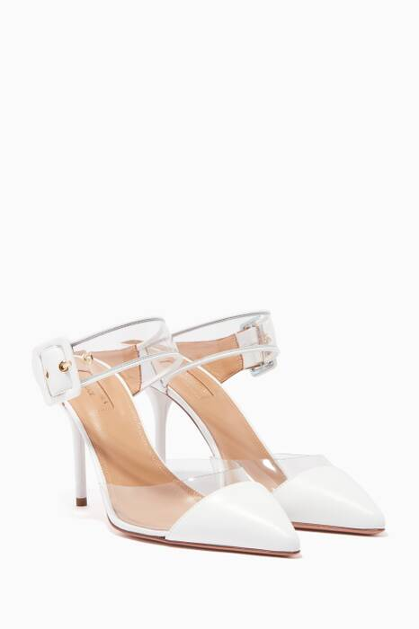 White Optic Point-Toe Mules