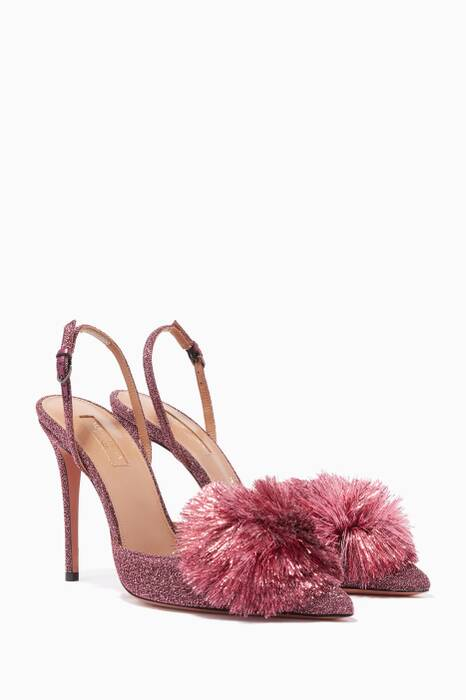Pink Lurex Powder Puff Slingback Pumps