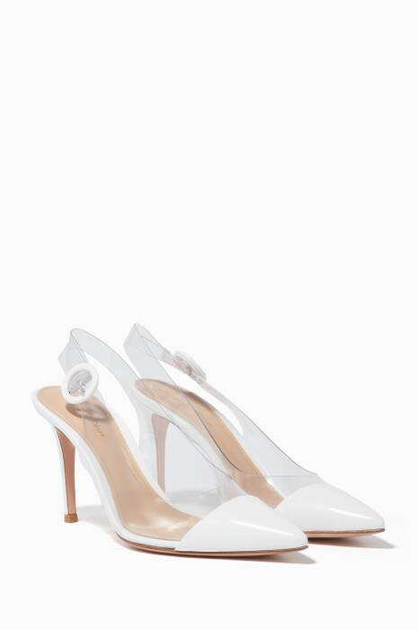White Patent-Leather Plexi Pumps