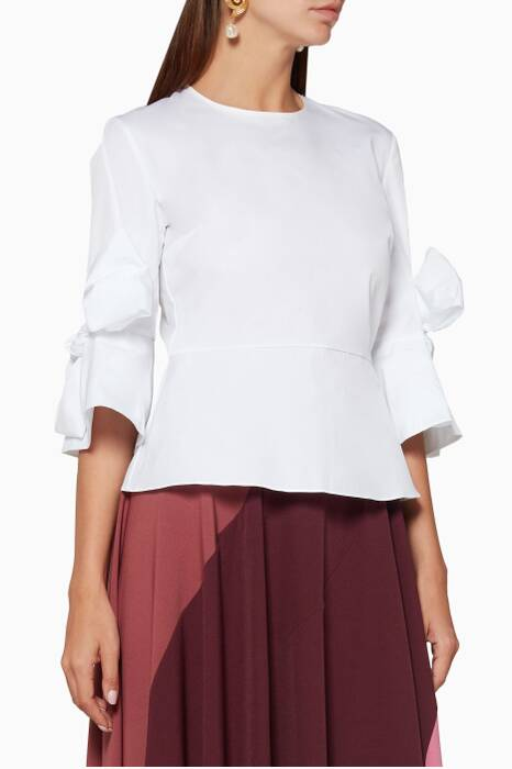 White Kemi Bow-Detail Peplum Top