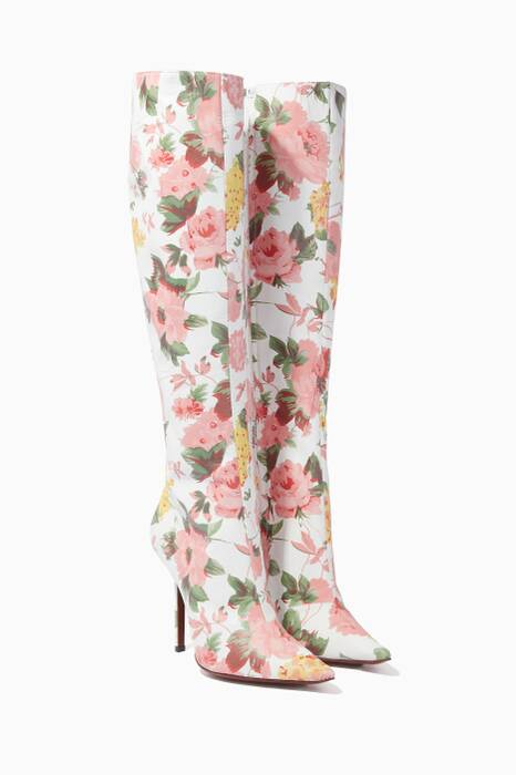 White Floral Paper Mache Point-Toe Boots