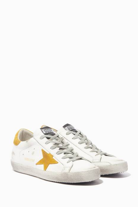 White & Yellow Suede Superstar Sneakers