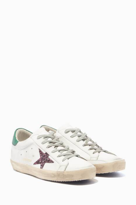 White & Rose Glitter Superstar Sneakers