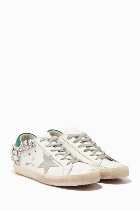 White Embellished Superstar Sneakers