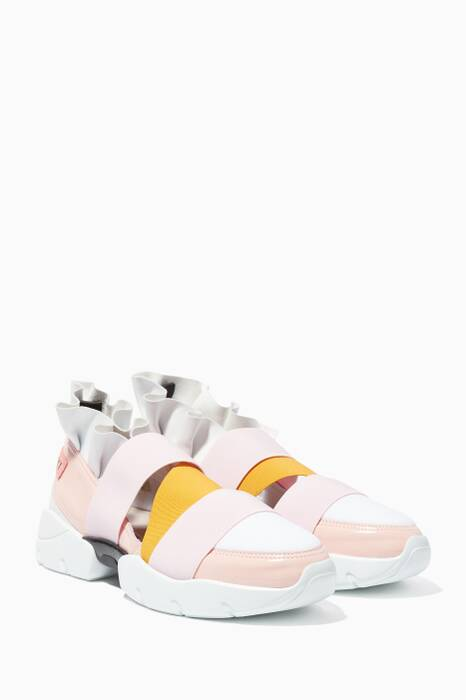 White & Pink City Up Sneakers