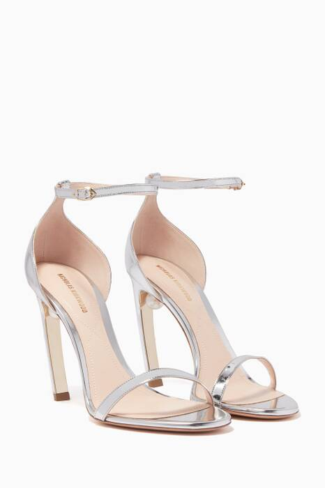 Silver-Mirrored Mira Pearl Sandals
