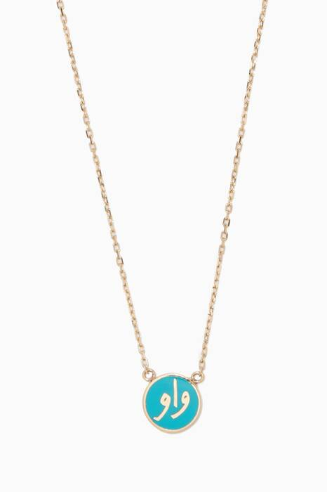 Yellow-Gold & Turquoise-Enamel Wow Necklace