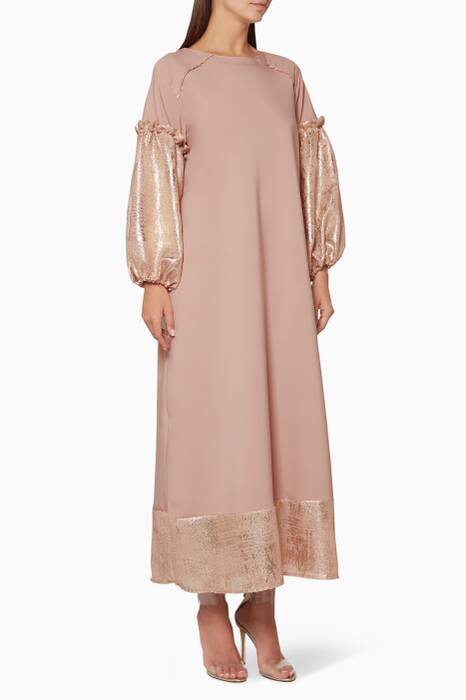 Beige Embroidered Bomber Kaftan