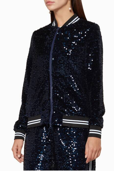 Navy Sequin-Embellished Katey Bomber Jacket