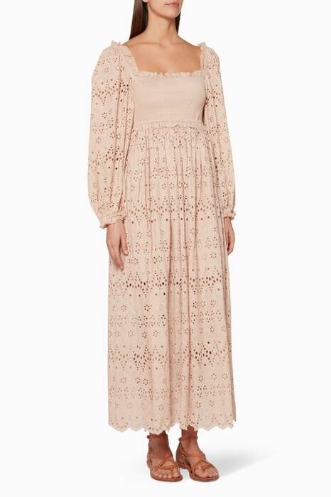Nude Bayou Blouson Maxi Dress