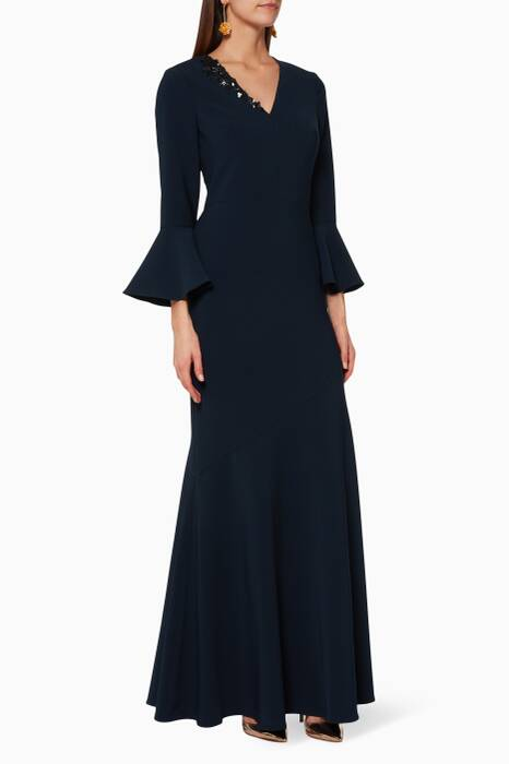Navy Bell-Sleeved Gown
