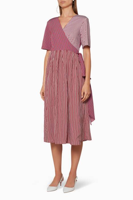 Dark-Red Striped Wrap Dress