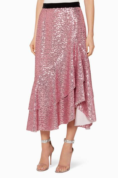 Pink Sequined Bony Asymmetrical Midi Skirt
