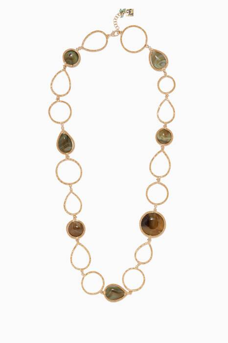 Brass & Agate Scarabeo Link Necklace