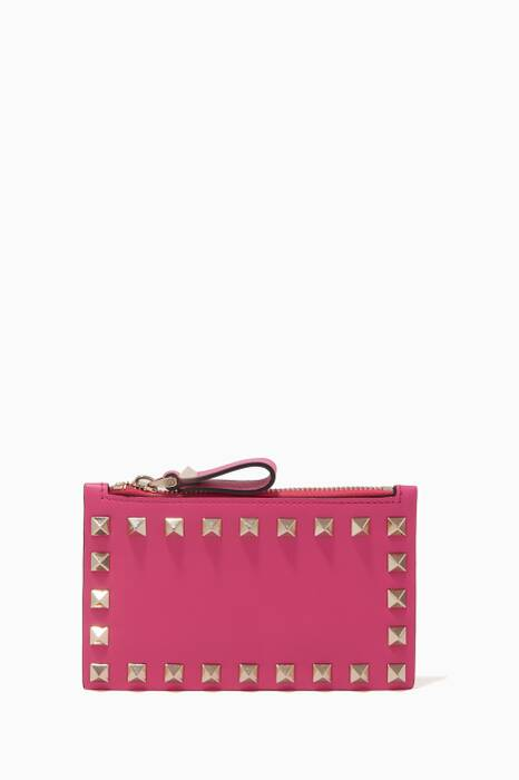 Bright-Pink Rockstud Coin & Card Case
