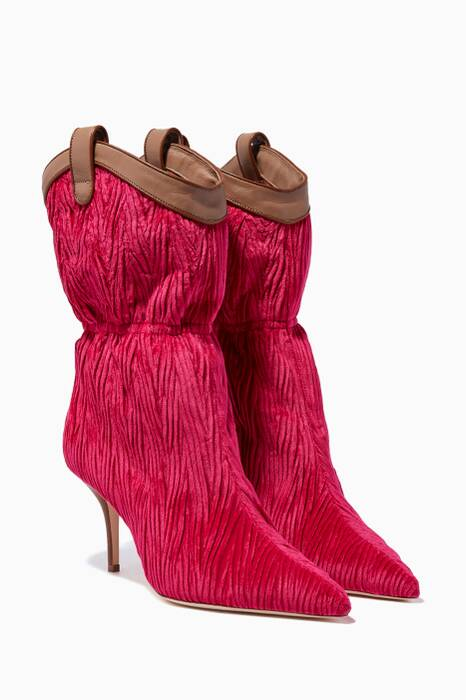 Fuchsia Ruched Daisy Boots