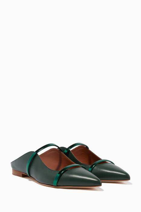Dark-Green Maureen Leather Flats
