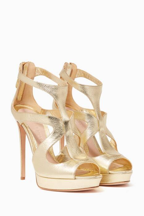 Metallic-Gold Cage Platform Sandals