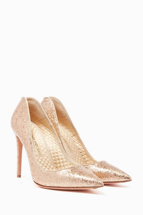 Gold Glitter Heart Pumps