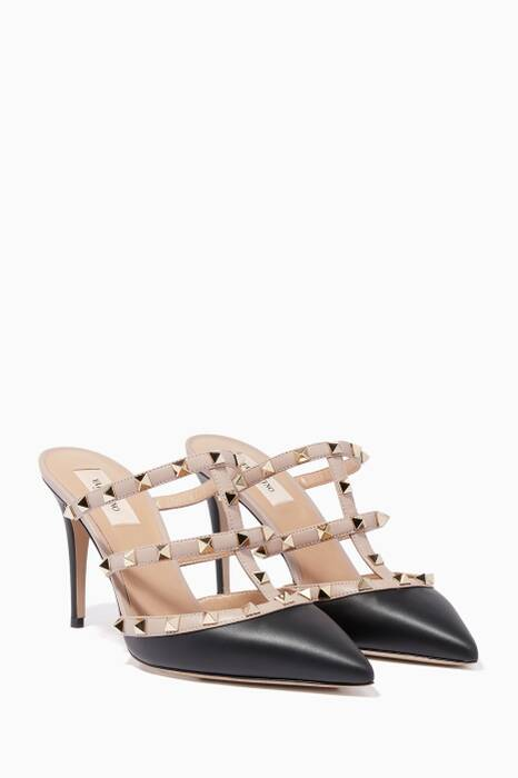 Black Rockstud Point-Toe Mules