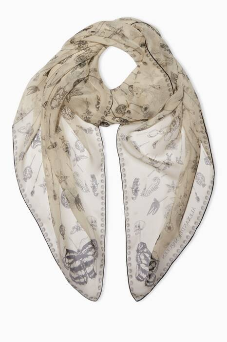 Ivory Heirloom Pins Printed Scarf