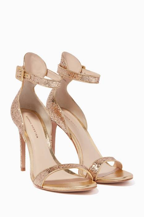 Gold Glitter-Embellished Nicole Sandals