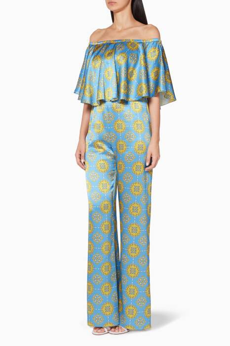 Blue Denis Printed Jumpsuit